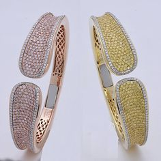Summer weekends shine #bright like a diamond with brand new cuff bracelets from #CharlesKrypell layer and stack #pinkdiamonds and #yellowdiamonds for maximum coolness, refreshing #pink #rose #gold and #yellow gold #NoFilter #pave #rare #luxurybyjck #diamo
