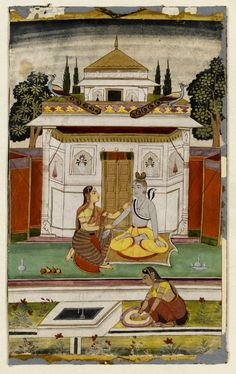 Ragamala painting, opaque watercolour on paper, depicting Siva being rubbed with sandalwood paste, illustration to the musical mode Bhairava Raga. Deccan, India. Date ca. 1700.