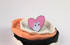 Enamel pin - lapel pin - cat lapel pin  Probably the cutest of all my enamel pins, this has been created from my original illustration, perfect for