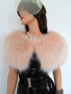 blush fur capelet peach fur stole fake fur wrap by thepurplegenie
