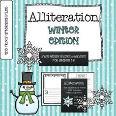 Alliteration made fun and easy! This engaging resource provides useful practice in using alliteration with a winter theme. This product includes: • Notes about teaching alliteration • A mini alliteration poster (black & white ink-saving version also included) • A blank template page for