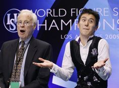 Patrick Chan with former coach, Don Laws, in the stands during the 2009 ISU World Figure Skating Championships in Los Angeles, CA, USA.