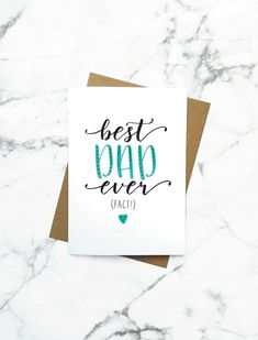 Best Dad Ever - Fathers Day Card Father's Day Card Card for Dad Dad Birthday Card Hand Drawn Father Birthday Cards, Happy Fathers Day Greetings, Birthday Gifts For Girlfriend, Friend Birthday Gifts, Teen Birthday, Boyfriend Birthday, 16th Birthday, Diy Father's Day Gifts, Father's Day Diy