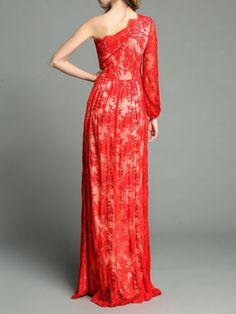 One-shoulder Slit Silk-blend Maxi Dress