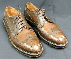 78f82c4dff3 1950 s Nunn-Bush Ankle Fashioned Brown Pebble Grain Wing Tip - Men s 7 C