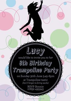 This trampoline party invite has birthday girl Lucy jumping for joy! Jolly Invites
