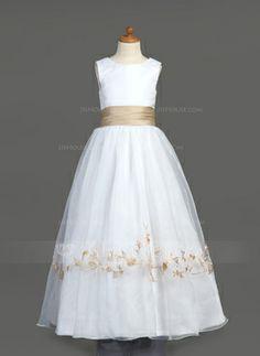 Corte A/Princesa Escote redondo Vestido Organdí Satén Vestido para niña de arras con Bordado Volantes Fajas (010007401)