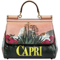DOLCE & GABBANA Sicily Capri Print Dauphine Leather Bag ($2,495) ❤ liked on Polyvore featuring bags, handbags, shoulder bags, print handbags, leather handbags, genuine leather purse, real leather handbags and dolce&gabbana