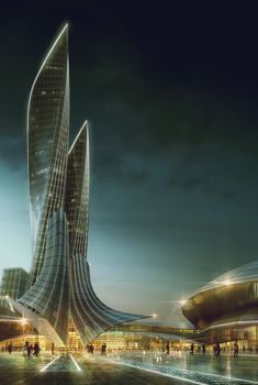 This is such an awesome design! It is so futuristic with its blend of glass and metal spiraling into a type of spire. It blends beautifully with the city and the sky.