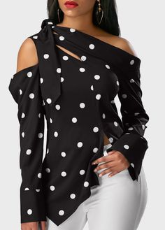 0498040a88e7c7 Black Polka Dot Print Asymmetrical Off The Shoulder Long Sleeve Top Cold  Shoulder Polka Dot Print Black Blouse