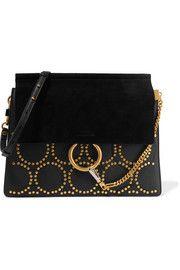 ChloéFaye medium studded leather and suede shoulder bag