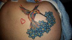 Beautiful humming bird with forget me not flowers. Watercolor Hummingbird, Hummingbird Tattoo, Watercolor Tattoo, Forget Me Not Tattoo, Time Tattoos, Piercings, Ink, Flowers, Tattoo Ideas