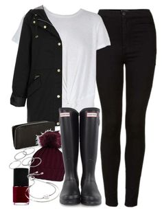 """Outfit for winter with a coat and Wellington boots"" by ferned ❤ liked on Polyvore featuring Topshop, MINKPINK, NARS Cosmetics, Hunter, Apt. 9 and Michael Kors"