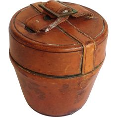 Antique Leather Hat Box Traveling Inkwell 19th c. from antiquesofriveroaks on Ruby Lane
