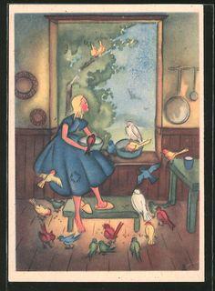 Alte Ansichtskarte: Künstler-AK Liselotte Delsenroth: Aschenputtel füttert Vögel