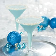 Snowflake Cocktail. The family friendly non-alcoholic drink for the season! Find the recipe at OrientalTrading.com