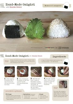 At a Glance for Onigiri / How to Make a Japanese Rice Ball: previous pinner. I learned the salt on wet hands tip from my grandmother, it is INVALUABLE--the rice won't stick to your hands and the salt brings out so much flavor Sushi, Cute Food, Yummy Food, Japanese Rice, Japanese Lunch, Rice Balls, Asian Recipes, Japanese Recipes, Food To Make
