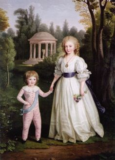A portrait of Marie Antoinette and Louis XVIs Children: Marie Therese and Louis Charles by Ludwig Guttenbrunn