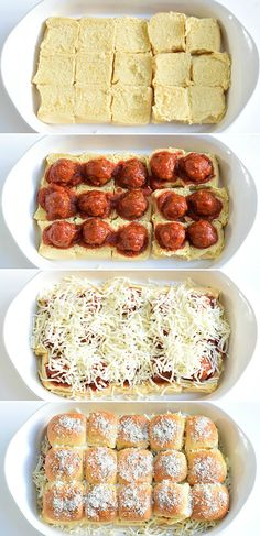 Easy Meatball Sliders are a budget friendly cheesy sandwich that is made in bulk in a casserole dish that comes out hot and delicious! I Love Food, Good Food, Yummy Food, Delicious Recipes, Yummy Lunch, Yummy Treats, Beef Recipes, Cooking Recipes, Recipies