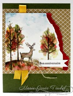 Beautiful autumn card using Stampin' Up! White Christmas stamp set from Holiday Catalog -- pinned from A La Pause: Around The World Stampin' Up! Challenges - AW24 Thème: Animal