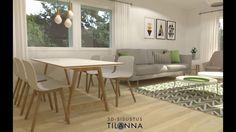 Rivitalon 3D-visualisointi ennakkomarkkinointia varten, kohde on Kone ja rakennuspalvelu Kara Oy:n tuotantoa ja valmistuu Paimioon / 3D-sisustus Tilanna, sisustussuunnittelua ympäri Suomen