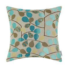 CaliTime Cushion Cover Throw Pillow Case Shell for Couch Sofa Home Luxury Chenille Cute Leaves Both Sides 18 X 18 Inches Ecru Teal ** Details can be found by clicking on the image. (This is an affiliate link) #THROWPILLOWS