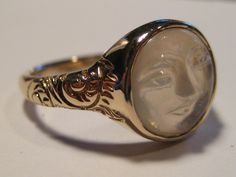 Carved Moonstone Face Ring
