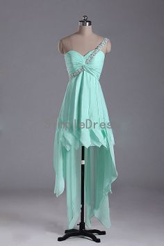 New Arrival A-line One-shoulder Sleeveless Long back short front Chiffon Fashion Cheap Prom Dress / Evening Dress 2014 With Applique