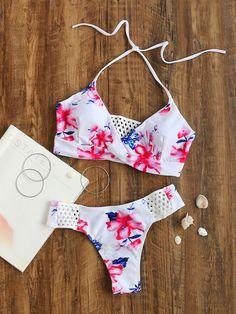 White Floral Print Hollow Out Detail Bikini Set