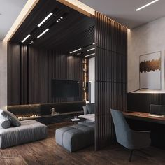 Get onboard with the wood slat wall trend with this luxurious home interior; featuring wood slat dividing walls, wall panel design and wood ceiling ideas. Loft Interior, Apartment Interior, Luxury Interior, Wood Slat Wall, Wood Slats, Wood Paneling, Interior Design Games, Interior Ideas, Plafond Design
