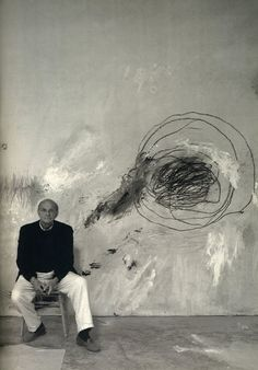 Cy Twombly in his studio