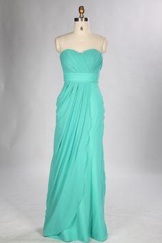 Strapless Column Turquoise Chiffon Long Bridesmaid Dress Teal Bridesmaid  Dresses 752a60736340