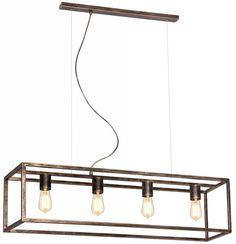 Rustieke hanglamp in oud koper, ruggine of zwart voor 4 E27 lampen