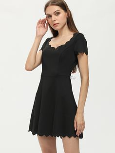 Shop Black Sawtooth Trim Scoop Neck Dress online. SheIn offers Black Sawtooth Trim Scoop Neck Dress & more to fit your fashionable needs.