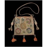 Linen sweet bag with silk embroidery, English, 1600–30