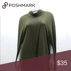 NEW turtleneck poncho So on trend for fall and winter!  Turtleneck poncho in a gorgeous olive green.  95% poly, 5% spandex.  1S, 2M and 2L available.  ❌not part of 60% off sale❌ Tops