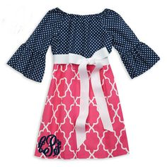 Navy Dot Pink Lattice Sash Dress  Lolly Wolly Doodle