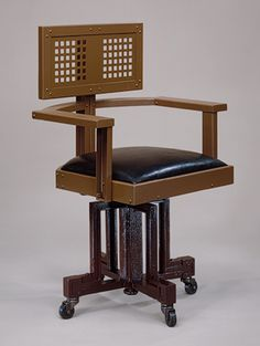 Revolving Armchair / c. 1904 / The Metropolitan Museum of Art Additional Images Revolving Armchair - by Frank Lloyd Wright (American, Richland Center, Wisconsin Phoenix, Arizona) ca. 1904 -- Steel, wood: 38 x 20 x 24 in. Frank Lloyd Wright, Wisconsin, Modern Furniture, Furniture Design, Muebles Art Deco, Art Nouveau, Love Chair, High Back Chairs, Banquette