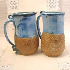 Large Pottery Stoneware Coffee Mugs 21 oz Cloudy by PorcelainJazz, $28.00 https://www.etsy.com/listing/172179984/large-pottery-stoneware-coffee-mugs-21?ref=shop_home_feat_4