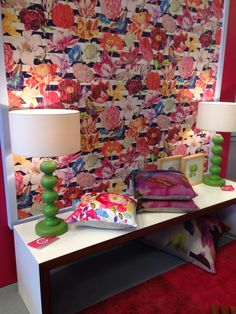 Gorgeous Sacho wallpaper with bella figura lamps, on cotton tree interiors stand Suffolk show 2014