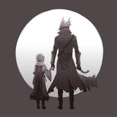 "nixaluminos: "" ""When this is all over, will you take me to visit Papa?"" My Paleblood hunter Yves, and his foster daughter Robin. Sif Dark Souls, Dark Souls Art, Dark Art, Bloodborne Characters, Bloodborne Art, Dark Fantasy, Fantasy Art, Soul Saga, Horror Drawing"