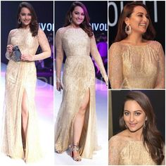 @SonakshiSinha in custom made embellished #Gown by #Swapnil_Shinde. Her thigh high slit gown with sheer sleeves was styled with studded Louboutins, a stunning pair of earrings and soft curls.Total glam-a-zon! Aug, 2016