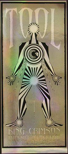 Tool & King Crimson Poster Arlene Schnitzer Concert Hall 10/8/2003 Silkscreen on Mylar Foil 11 x 26 inches