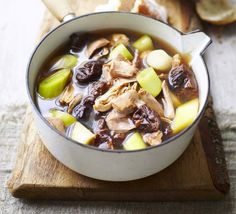 Cock-a-leekie soup. James Martin gives the classic restorative Scottish soup a twist - the prunes add a sweet contrast to the rich chicken broth Best Soup Recipes, Bbc Good Food Recipes, Favorite Recipes, Uk Recipes, Savoury Recipes, Traditional Scottish Food, Burns Supper, Scottish Recipes, British Recipes
