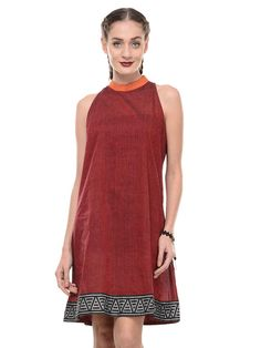 Maroon Mangalgiri Cotton Dress with Printed Border – The Loom