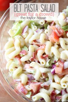 Delicious and Easy to make BLT Pasta Salad that's perfect for a crowd! Bring this to your 4th of July Party!