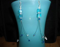 Handmade Teal dangle Earrings: Teal Glass with Swarovski Crystals and Silver Plated Hooks - Edit Listing - Etsy