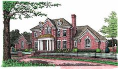 Eplans Adam - Federal House Plan - Elegant Brick Home - 3793 Square Feet and 4 Bedrooms(s) from Eplans - House Plan Code HWEPL02073