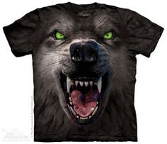Over sized growling wolf face on printed on hand dyed shirts with water based ink for a soft hand.