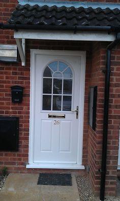 Buy 2 Panel Sunburst Composite Front Door in White Online Front Door Awning, Porch Doors, House Doors, Entrance Doors, Composite Front Door, Family Wall Decor, Foyer Decorating, Wood Doors, Cottage Style